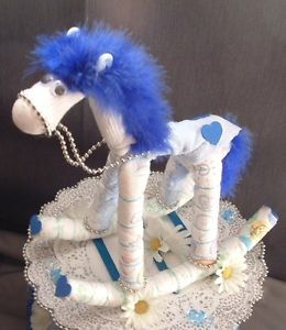 Blue Horse Diaper Cake Topper Boy Baby Shower Decorations