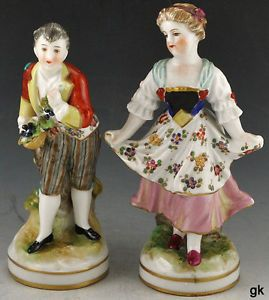 2 Antique Italian Capodimonte Hand Painted Porcelain Figurines Early 1900s
