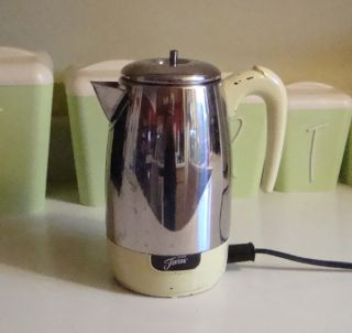 Fiesta Fiestaware Retro Coffee Percolator Yellow Stainless Chrome Electric