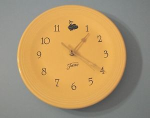 Fiesta Ware Wall Clock Light Yellow Homer Laughlin China Co Lead Free Working