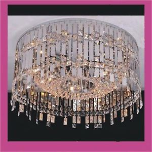 Large Modern Flush Mount Chrome Glass Crystal Round Chandelier Pendant