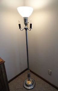 Vintage Lighted Slag Glass Art Deco Torchiere Floor Lamp RARE