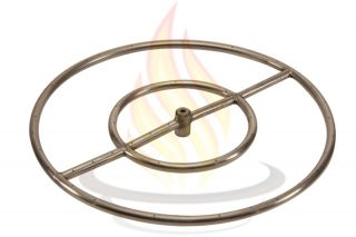 "24"" High Capacity Round Stainless Steel Fire Pit Burner Ring Propane LP"