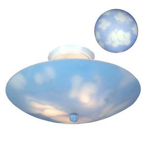 New Children's 3 Light Semi Flush Mount Ceiling Lighting Fixture Clouds and Sky