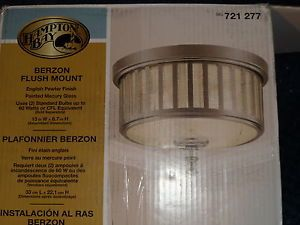 Hampton Bay Berzon 2 Light Ceiling English Pewter Flush Mount