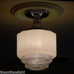 Skyscraper 4 Tier 30's Vintage Art Deco Glass Ceiling Light Fixture Flush Mount
