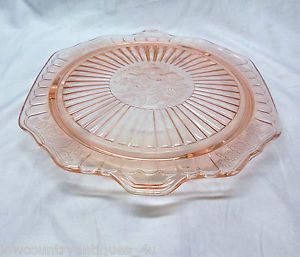 1930s Anchor Hocking Mayfair Pink Depression Glass Footed Cake Plate Tab Handles