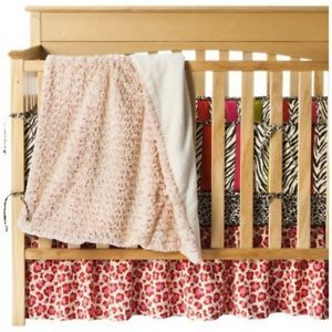 Baby Girl Crib Bedding Set Pink Animal Kitty Print 4 Piece Pink Green Brown Soft
