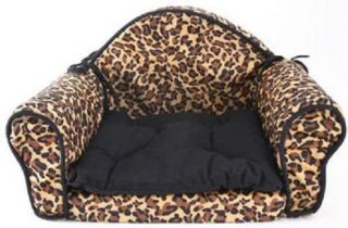 Pet Cat or Dog Bed Sofa Deluxe Leopard Print Classy Couch New