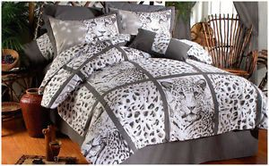 New Gray White Leopard Print Animal Face Comforter Bedding Sheet Set