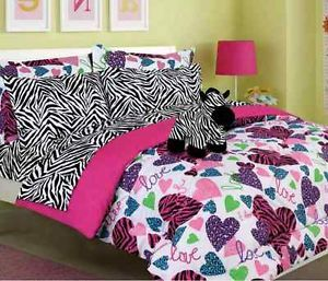 New Girls Kids Bedding Multi Color Heart Zebra Print Comforter Set Funky Fun