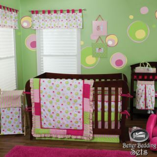 Trend Lab Baby Girl Cute Pink Green Dot Crib Nursery Bedding Ideas Quilt Bed Set