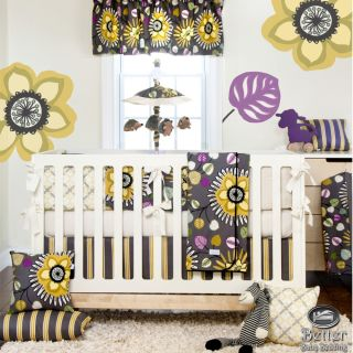 Glenna Jean Baby Girl Yellow Gray Tropical Flower Crib Nursery Quilt Bedding Set