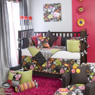 Glenna Jean Baby Girl Pink Black Crib Nursery Bedding Quilt Set Accessories