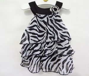 New Lassock Baby Kid Toddler Girl Chiffon Zebra Stripe Dress Outfit Clothes