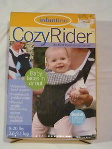 Brand New in Box Infantino Cozy Rider Baby Carrier Blue White Plaid