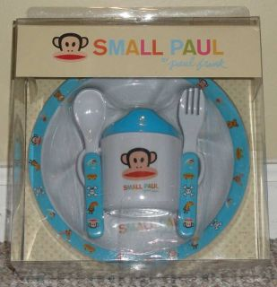 Small Paul Frank Julius Monkey Pink Blue Baby Feeding Plate Bowl Utensil Set New