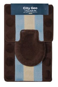 Modern Circles Stripes Brown Teal 3 Piece Bathroom Shower Ensemble Bath Rug Set