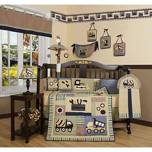 Baby Boy 13 PC Quilt Crib Bedding Tractor Construction