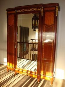 Antique French Empire Art Deco Armoire Bed Bedroom Cabinet Inlay Greek Key Sun