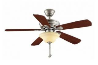 Hampton Bay Wellston 44 inch Ceiling Fan with Light Kit Brushed Nickel Finish
