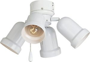 New Universal White 4 Light Ceiling Fan Light Kit Bullet Spotlight Fixture Add