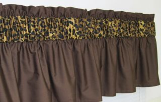 3 in Wide Pocket Brown Cheetah Leopard Print Window Curtain Valance $15 99