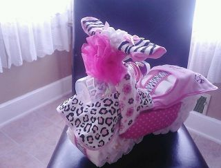 Motorcycle Diaper Cake Girl Baby Diva Shower Gift Centerpiece Pink
