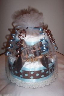 L K Mod Boy 2 Tier Diaper Cake Boy Baby Shower Centerpiece Favor