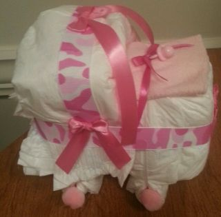 Bassinet Diaper Cake Baby Shower Gift Pink Camo Print