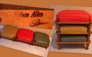 Vintage Ethan Allen Baumritter 3 Stacking Stools Wood Vinyl Red Green Gold Excel
