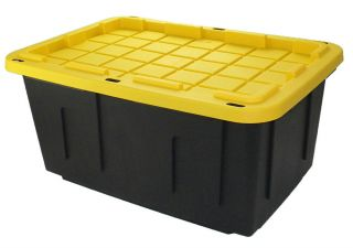 X Large Heavy Duty Plastic Garage Storage Tote Crate 30x20x14 27gal Capacity