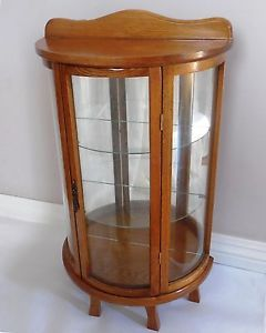 Vntg Wood Glass Table Wall Curio Small Display Cabinet w Shelves Bow Curved Case