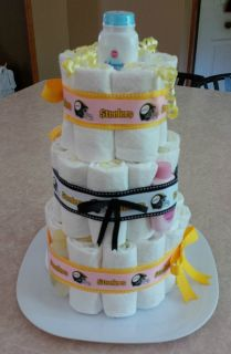 Pittsburgh Steelers Three Tier Baby Diaper Cake for Baby Girl