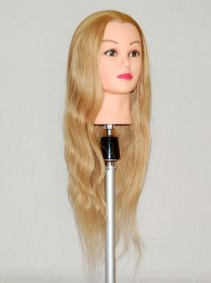 "30"" Cosmetology Mannequin Head 100 Human Blonde Hair Free Clamp Holder"