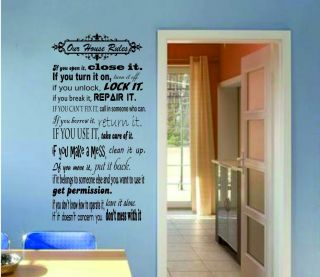 House Rules Living Room Kitchen Bedroom Wall Sticker Decal 3sizes Many Colours