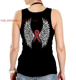 Rhinestone Breast Cancer Pink Ribbon Angel Wing Black Tank Top T Shirt s to 3XL