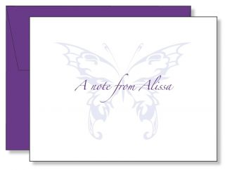 Custom Personalized Purple Butterfly Thank You Note Cards