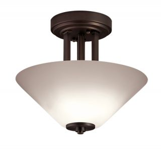"Quoizel QX0038G2 Semi Flush Mount 2 Light Oil Rubbed Bronze Steel 13"" Wide"