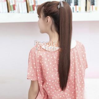 P4PM Long Lady Girl Straight Ponytail Wigs Hair Hairpiece Extension Light Brown