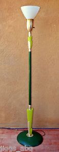 Rembrandt Art Deco Floor Lamp Green Gold w Milk Glass Shade Great Vintage