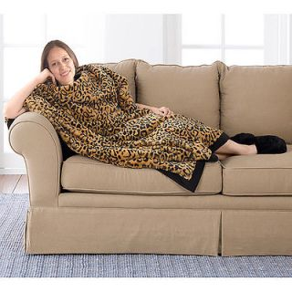 Long Leopard Print Faux Fur Throw and Black Slipper Gift Set