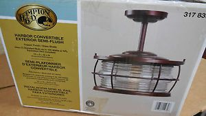 "Hampton Bay 12"" Harbor Outdoor Copper Convertible Flush Mount Light 317839 New"