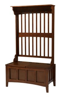 New Hall Tree Bench Coat Rack Entry Way Mud Room Wooden Seat Storage Hooks Brown