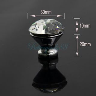 10 PC 30mm Diamond Shape Crystal Glass Cabinet Knob Cupboard Drawer Pull Handle