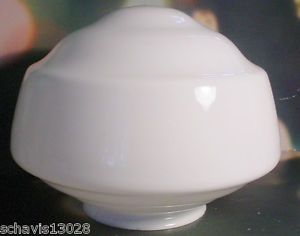 Vintage School House Industrial White Glass Lamp Shade Globe Light 1950 Old