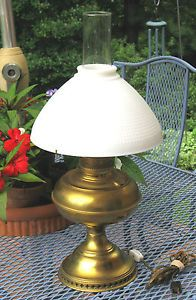 Rayo Brass Oil Lamp and Milk Glass Shade Converted Electric Original RARE