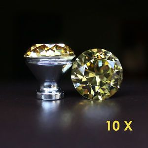 10 Pcs Yellow Crystal Glass Drawer Knobs Cabinet Handle Pulls
