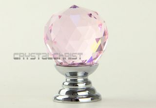 20mm Round K9 Pink Crystal Glass Cabinet Knobs Drawer Furniture Handle Wardrobe