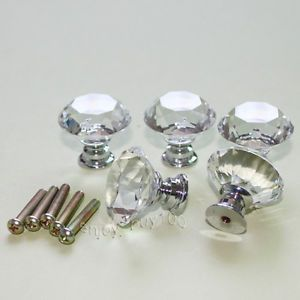 Lot of 5 Clear Crystal Glass Drawer Pull Cabinet Knob Kitchen Handle 30mm
